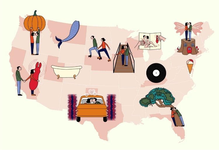 Alternative date spots in every US state