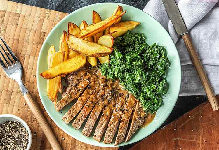 HelloFresh Review - Crushed peppercorn steak with creamed kale and potato wedges