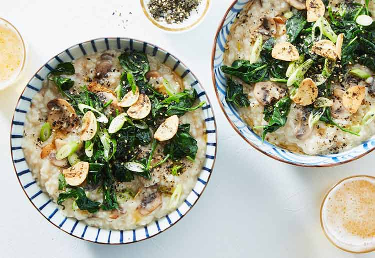 Martha & Marley Spoon Vegan Meal Kit - Mushroom and Spinach Congee