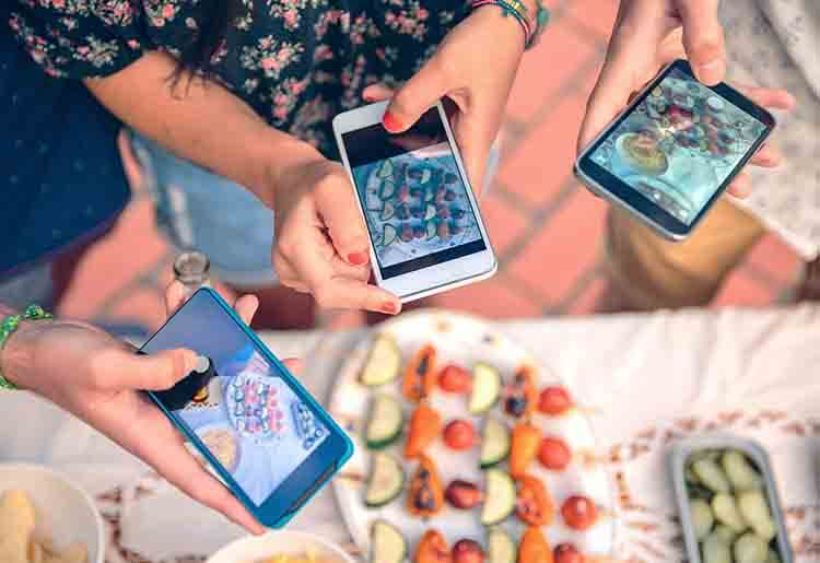 Millennials taking food photos
