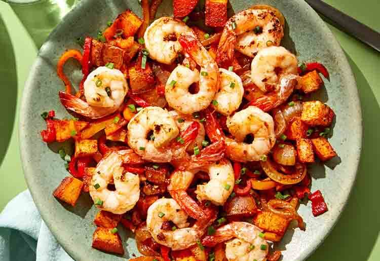 Blue Apron Garlic Shrimp & Spanish-Style Potatoes with Peppers & Onions