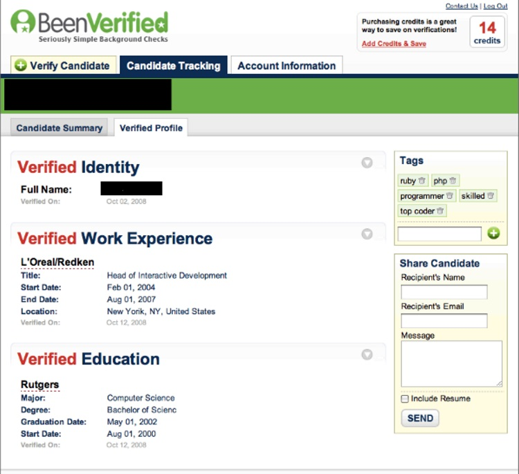 BeenVerified self report