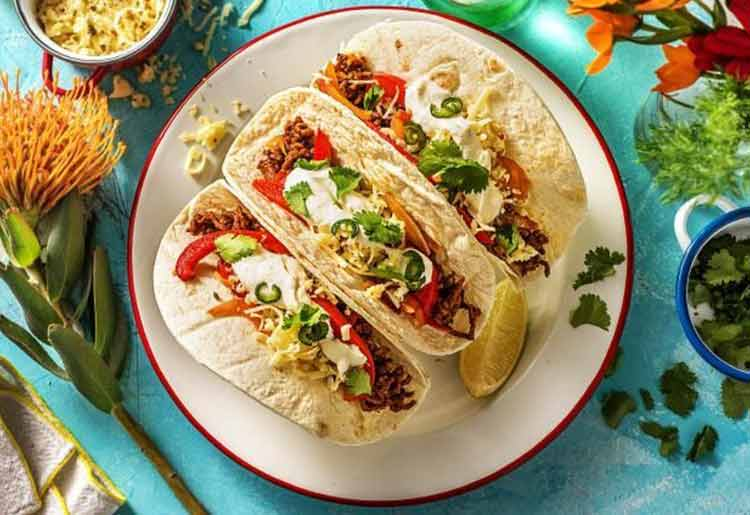 Southwestern Beef Tacos with Bell Pepper, Lime Crema and Pepper Jack Cheese
