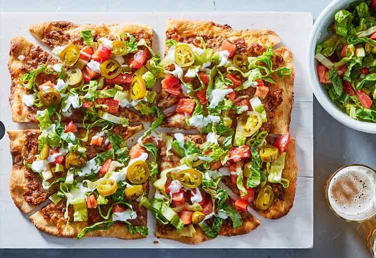 Veggie Taco Pizza with Frijoles Refritos