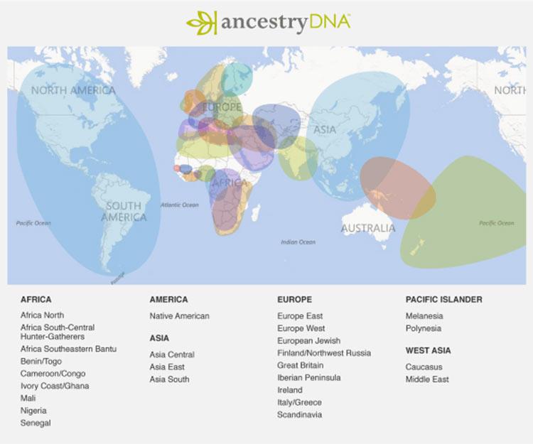 AncestryDNA's geographic regions