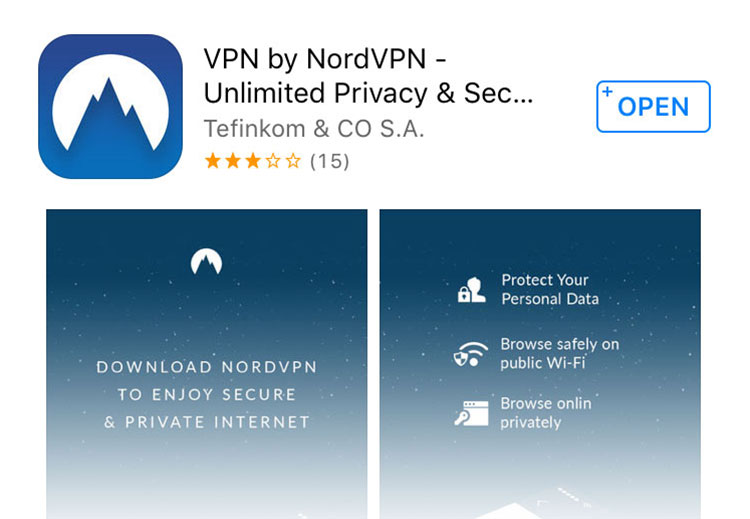NordVPN app for iPhone