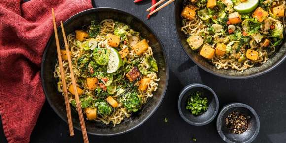 Fall Vegetable Ramen with Brussels Sprouts & Butternut Squash
