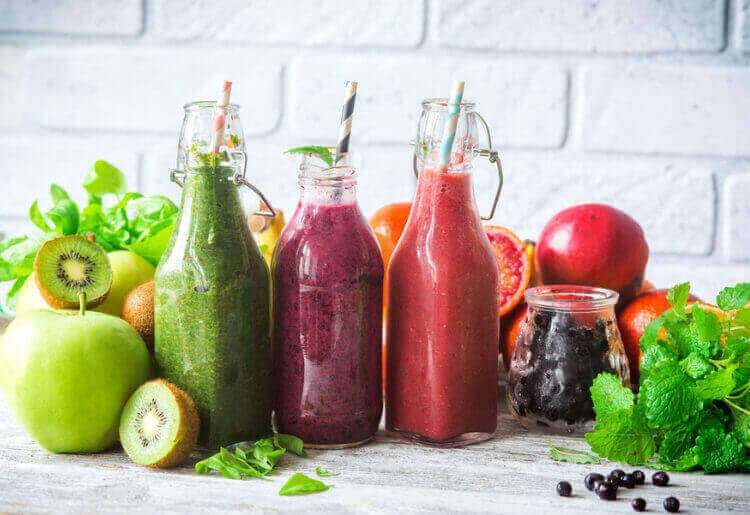 Healthy and colorful smoothies