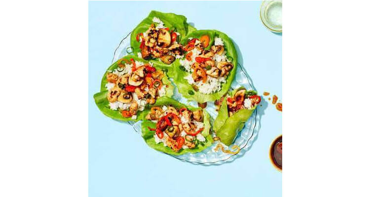 Chicken Lettuce Cups with Sweet Peppers, Mushrooms & Jasmine Rice