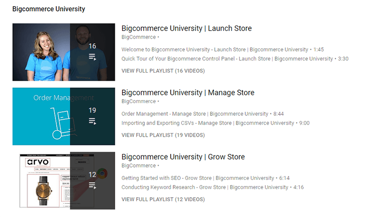 Bigcommerce University videos