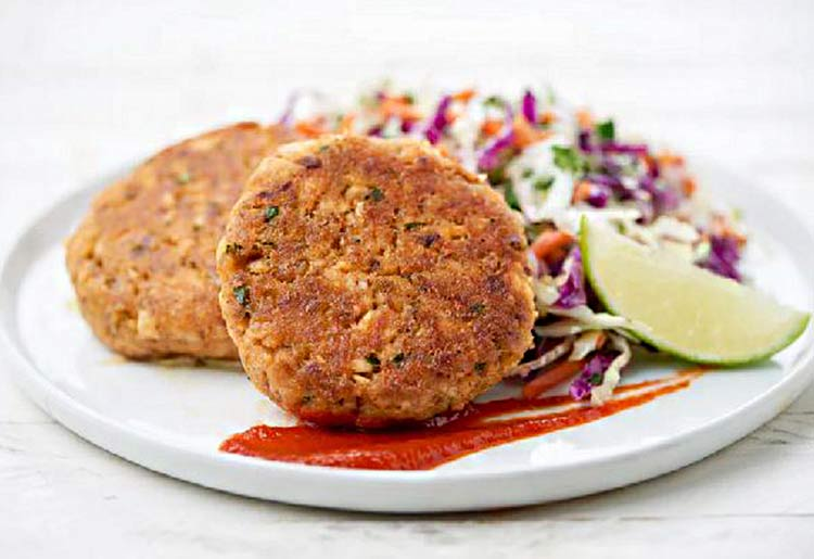 Thai Fish Cakes with Cilantro-Lime Slaw and Sriracha