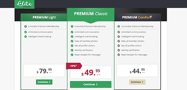 EliteSingles has a range of pricing plans