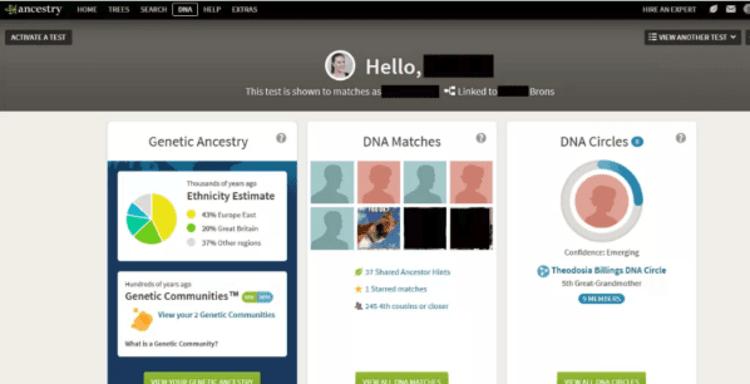 Sample AncestryDNA dashboard