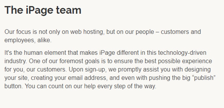 iPage Team about section