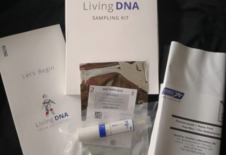 LivingDNA kit with the vacuum sealed test tube