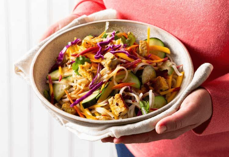 Rainbow Rice Noodle Salad with Tempeh and Tamarind Dressing