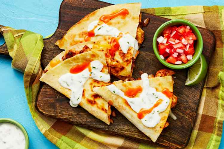 Baja Chicken Quesadilla with Salsa Fresca and Lime Crema