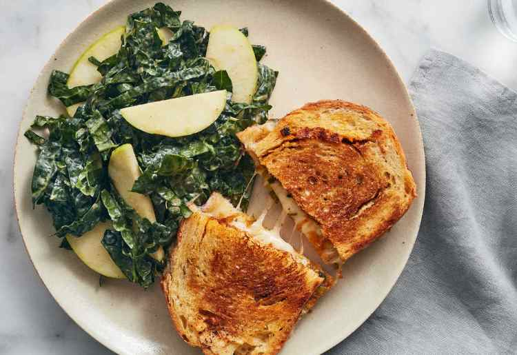 Gochujang Grilled Cheese with Peanut-Kale Salad