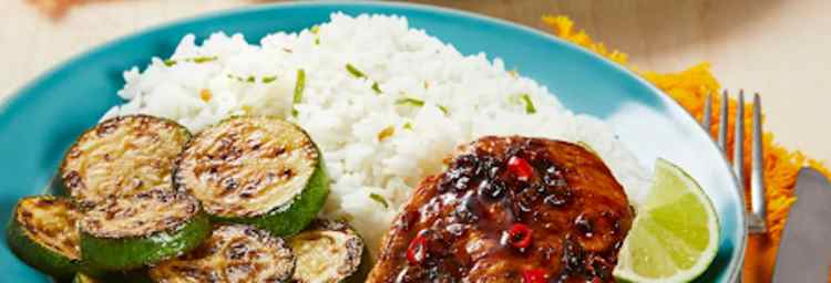 Teriyaki-Glazed Chicken with Zucchini and Ginger Lime-Rice