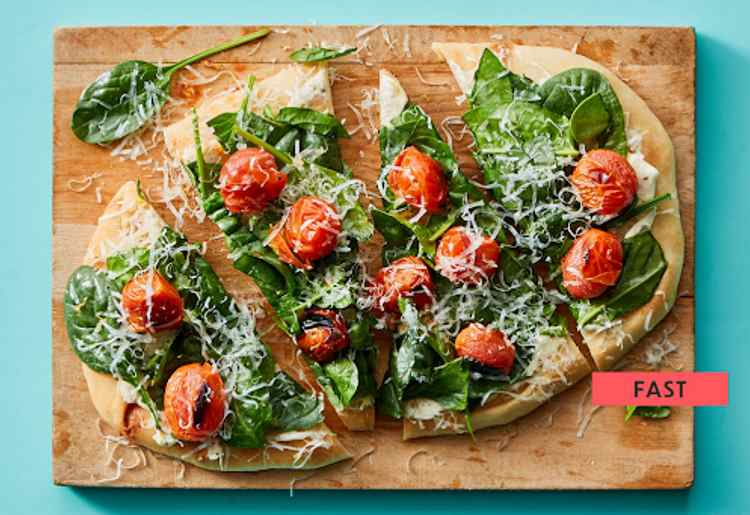 Mediterranean Flatbread with Blistered Tomatoes & Spinach
