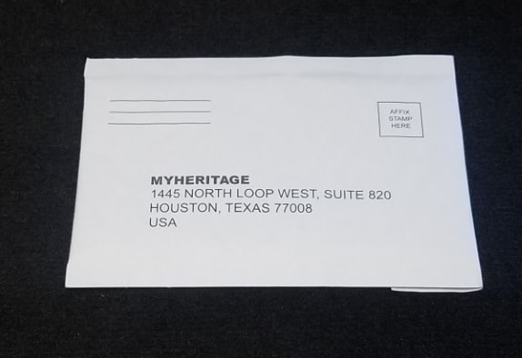 MyHeritage pre-addressed envelope