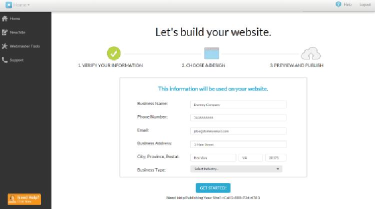 Register.com website builder dashboard