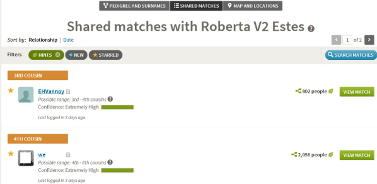 Shared matches sample from AncestryDNA