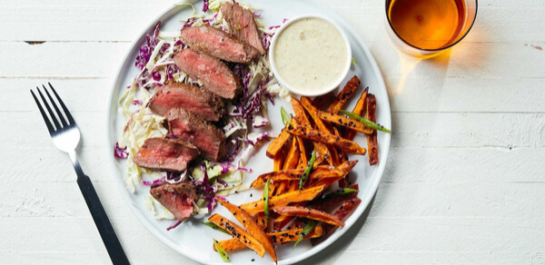 Plated's Soy-Glazed Steak with Sweet Potato Fries and Wasabi Mayo