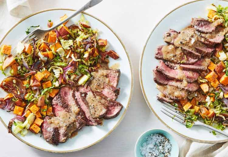 Seared Steak & Pan Gravy with Brussels and Sweet Potatoes