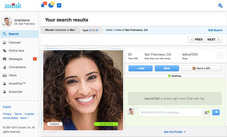 Zoosk search options